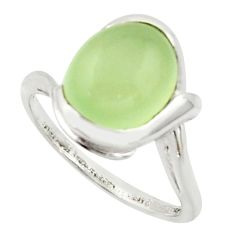 5.11cts solitaire natural green prehnite 925 sterling silver ring size 7 r40813