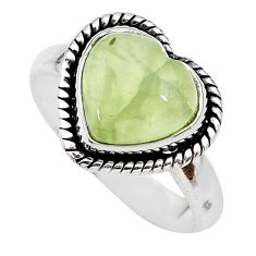 4.67cts heart natural green prehnite 925 sterling silver ring size 8 t21686
