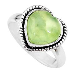 4.84cts  heart green prehnite 925 sterling silver handmade ring size 8 t21758