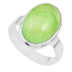 10.01cts solitaire natural green prehnite 925 sterling silver ring size 9 t17781
