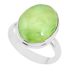 12.83cts solitaire natural green prehnite 925 sterling silver ring size 9 t17784