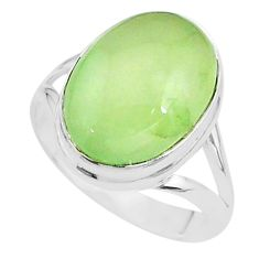 9.63cts solitaire natural green prehnite 925 sterling silver ring size 9 t17787