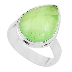 11.89cts solitaire natural green prehnite 925 sterling silver ring size 9 t17789