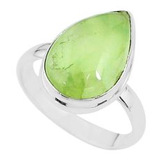 10.02cts solitaire natural green prehnite pear 925 silver ring size 10 t17786