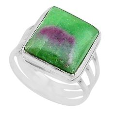 15.66cts solitaire natural green ruby zoisite 925 silver ring size 10 t17818