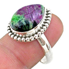 10.02cts solitaire natural green ruby zoisite 925 silver ring size 8 t44756