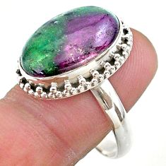 13.84cts solitaire natural green ruby zoisite oval silver ring size 10 t44757