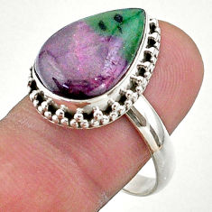 11.02cts solitaire natural green ruby zoisite pear silver ring size 10 t44751