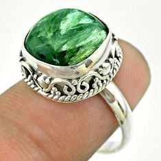 6.83cts solitaire natural green seraphinite (russian) silver ring size 7 t55883