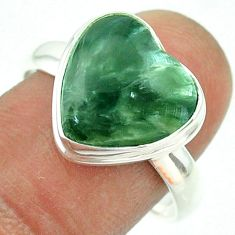 7.00cts solitaire natural green seraphinite 925 silver heart ring size 9 t55072