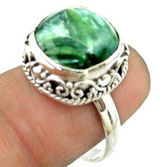 6.58cts solitaire natural green seraphinite 925 silver ring size 7.5 t55874