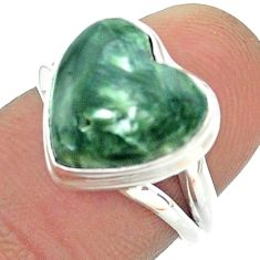6.47cts solitaire natural green seraphinite heart silver ring size 6.5 t55083