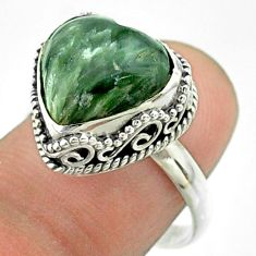 6.31cts solitaire natural green seraphinite heart silver ring size 8.5 t55915