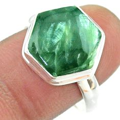 6.32cts solitaire natural green seraphinite silver hexagon ring size 9 t55085