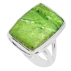 14.68cts solitaire natural green swiss imperial opal silver ring size 8 t10468