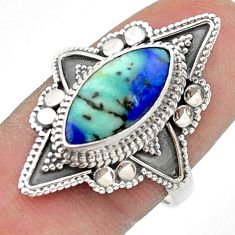 6.27cts solitaire natural green turquoise azurite 925 silver ring size 8 t44969