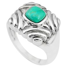 1.28cts solitaire natural green turquoise tibetan 925 silver ring size 7 t10335