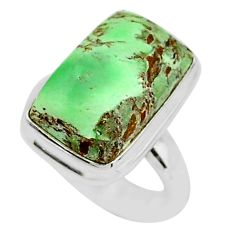 11.19cts solitaire natural green variscite 925 silver ring size 6.5 t10341