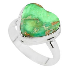 7.96cts solitaire natural green variscite 925 silver ring size 8.5 t11176