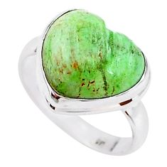 8.09cts solitaire natural green variscite 925 silver ring size 8.5 t15605