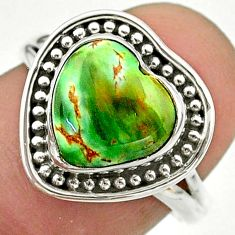 5.24cts solitaire natural green variscite 925 sterling silver ring size 7 t41645