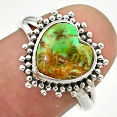 5.42cts solitaire natural green variscite heart 925 silver ring size 7.5 t41605