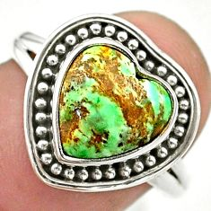 5.23cts solitaire natural green variscite heart 925 silver ring size 8.5 t41622