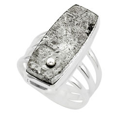 22.68cts solitaire natural grey meteorite gibeon 925 silver ring size 7 t29177