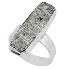 16.17cts solitaire natural grey meteorite gibeon 925 silver ring size 7 t29179