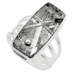 18.66cts solitaire natural grey meteorite gibeon 925 silver ring size 7 t29191