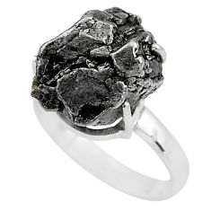 21.18cts solitaire natural grey meteorite gibeon 925 silver ring size 8 t10381