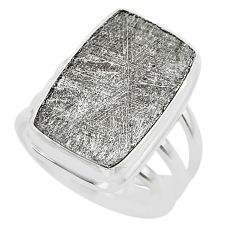 19.49cts solitaire natural grey meteorite gibeon 925 silver ring size 8 t29163