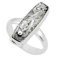 13.04cts solitaire natural grey meteorite gibeon 925 silver ring size 8 t29176