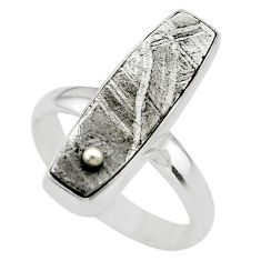 12.43cts solitaire natural grey meteorite gibeon 925 silver ring size 8 t29190