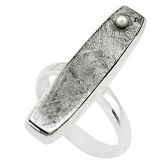 15.47cts solitaire natural grey meteorite gibeon 925 silver ring size 8 t29194
