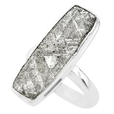 14.40cts solitaire natural grey meteorite gibeon 925 silver ring size 9 t29167