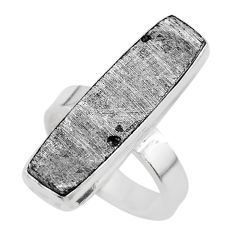 16.46cts solitaire natural grey meteorite gibeon 925 silver ring size 6.5 t29156