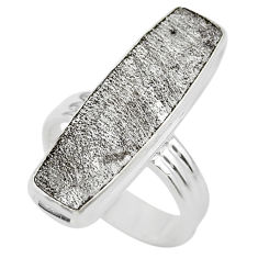 13.55cts solitaire natural grey meteorite gibeon 925 silver ring size 6.5 t29161
