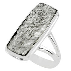 12.60cts solitaire natural grey meteorite gibeon 925 silver ring size 7.5 t29165