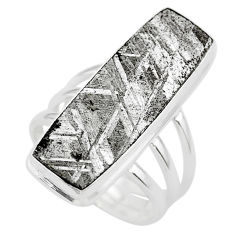 20.31cts solitaire natural grey meteorite gibeon 925 silver ring size 7.5 t29171