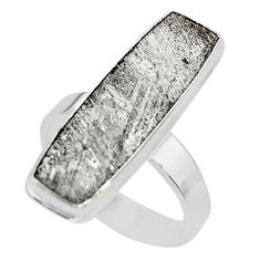 16.17cts solitaire natural grey meteorite gibeon 925 silver ring size 8.5 t29174