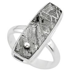 15.44cts solitaire natural grey meteorite gibeon 925 silver ring size 7.5 t29186