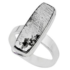 18.17cts solitaire natural grey meteorite gibeon 925 silver ring size 8.5 t29188