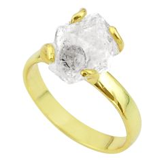5.54cts solitaire natural herkimer diamond 925 silver gold ring size 8 t49439