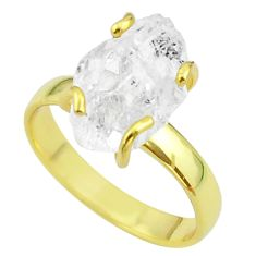 5.87cts solitaire natural herkimer diamond silver 14k gold ring size 7 t49423