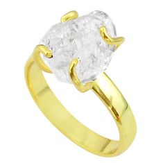5.84cts solitaire natural herkimer diamond silver 14k gold ring size 7 t49431