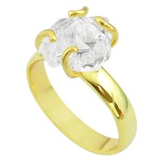 5.84cts solitaire natural herkimer diamond silver 14k gold ring size 7 t49434