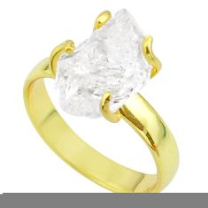 6.04cts solitaire natural herkimer diamond silver 14k gold ring size 8 t49427