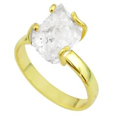 6.03cts solitaire natural herkimer diamond silver 14k gold ring size 9 t49426
