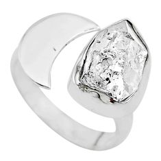 5.95cts solitaire natural herkimer diamond silver adjustable ring size 8 t10334